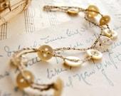 """Sale - Button Anklet, Button Bracelet, Crochet Bracelet, Linen Anklet, Antique Buttons Jewelry, Mother of Pearl 9 1/2"""""""