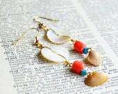 Sale - Antique Button Earrings - Beach Jewelry - Ocean Earrings - Coral Seas
