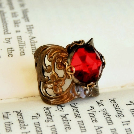 Button Ring Waistcoat  Vintage Button Jewelry Brass Adjustable Steampunk Ring Ruby Floral