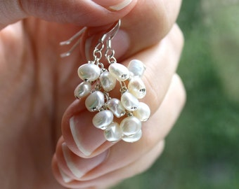 June Birthstone Sterling Silver Cluster Pearl Earrings . White Freshwater Pearl Earrings . Chakra Balancing Jewelry - Decca Collection