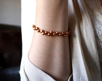 Freshwater Pearl Bridesmaid Bracelet . Copper Pearl Bracelet . Golden Pearl Bracelet . Simple Pearl Bracelet - Gatsby Collection
