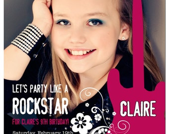 Party like a ROCKSTAR Birthday Party Photo Invitation- PRINTABLE