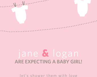 Modern Onesie on Clothesline Baby Girl Shower Invitation- PRINTABLE