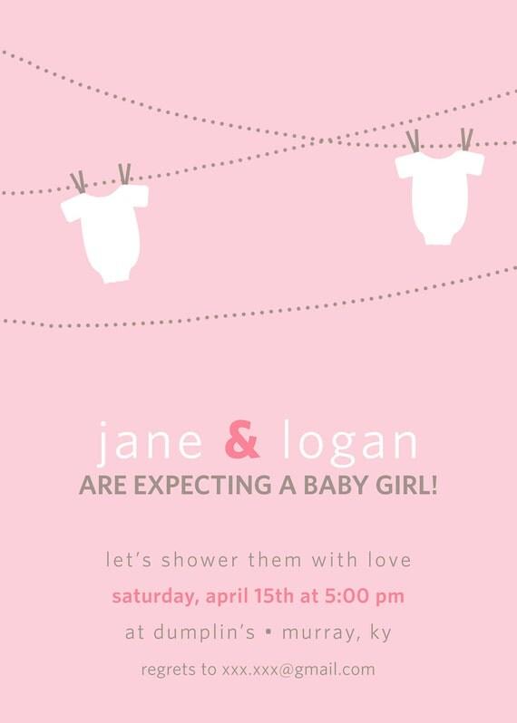 Modern Onesie on Clothesline Baby Girl Shower Invitation- PRINTABLE