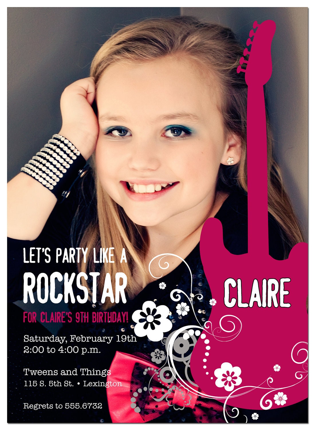 Party like a ROCKSTAR Birthday Party Photo Invitation