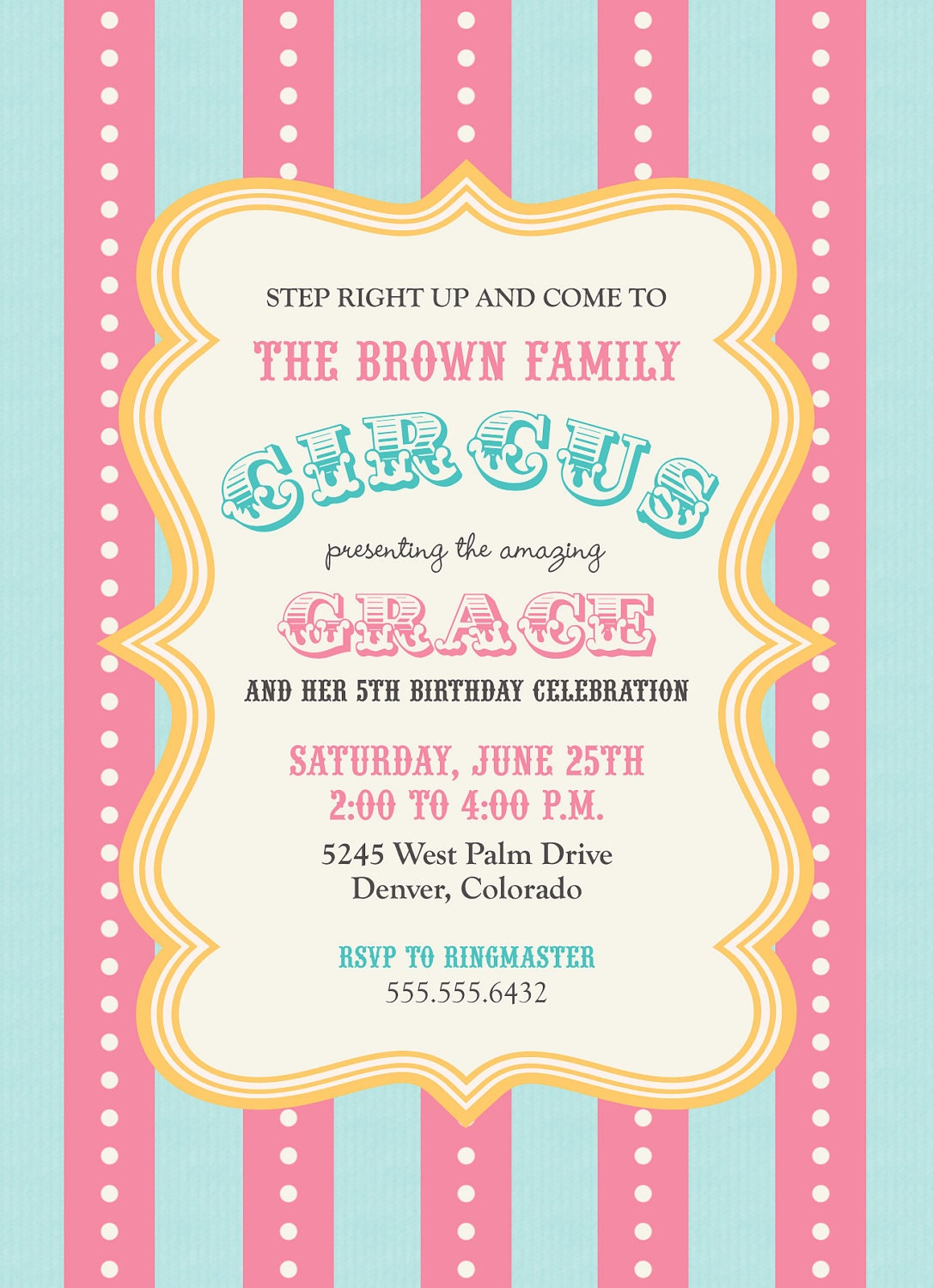 Circus Celebration Birthday Girl Invitation PRINTABLE