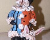 Folk Art Nostalgic Boston Terrier Dog Easter Party Ooak Doll