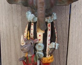 Whimsical Folk Art Circus Carnival Elephant Sock Monkey Rhino NutCracker Nut Cracker Ooak Art Doll