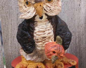 Whimsical Vintage Folk Art Halloween Owl Container Paper Mache