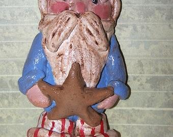 Folk Art Americana Santa Claus Christmas Ornament 4th of July Ornie