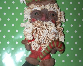 Primitive Black  Folk Art Santa Claus Ornament ooak