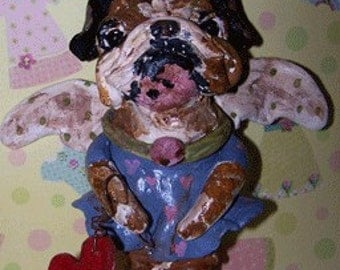 Whimsical Folk Art English Bulldog Dog Angel w Heart