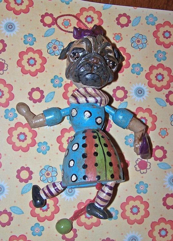 Whimsical Folk Art Pug Dog Pull Toy Ooak Ornament Doll