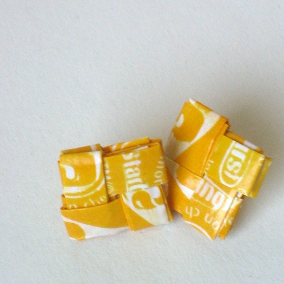 Tart Lemony Upcycled Candy Wrapper Earrings - Square