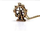 Small Ferris Wheel Carnival  gold plated pewter charm Necklace on a delicate gold plated chain