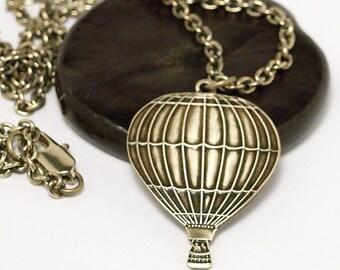 Hot Air Balloon Necklace, Brass Hot Air Balloon Necklace, Antiqued Hot Air Balloon Necklace, Hot Air Balloon Pendant, Balloon necklace