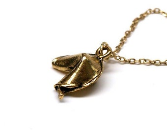 Fortune Cookie Necklace small gold plated charm pewter on a delicate gold plated chain