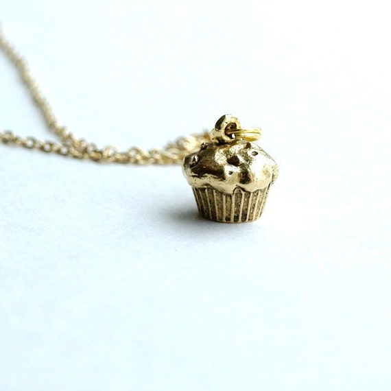 Small Cupcake charm Necklace Gold plated pewter on a delicate gold plated chain
