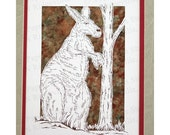 Kangaroo Papercutting- Handcut Original, Watercolor