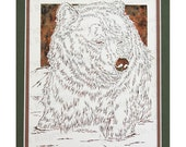 Grizzly Bear Papercutting- Handcut Original, Watercolor