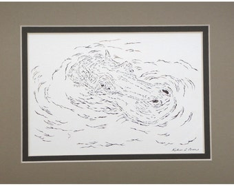 Swimming Hippopotamus Papercutting- Handcut Original