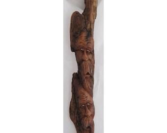 Handcarved Cottonwood Woodspirit Twins 2011-47