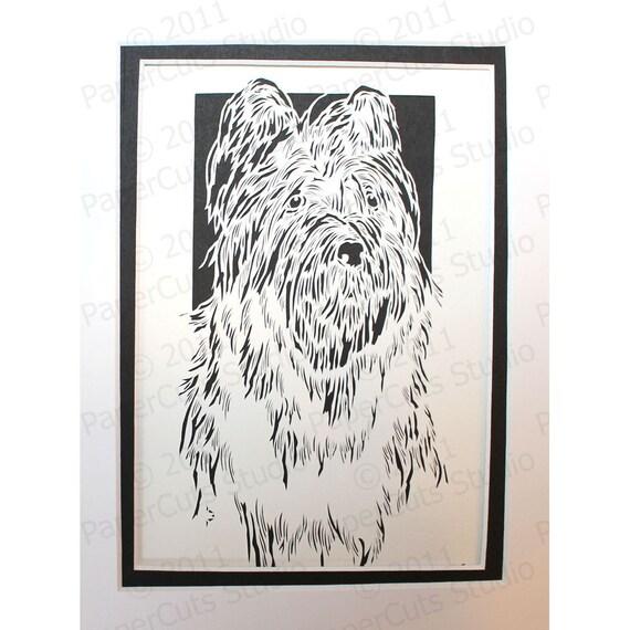 Briard Papercutting- Handcut Original