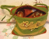 Knit Bag Purse Camera Makeup Cell Phone iPod Tote Boho Green Red Gold Zippered Feminine