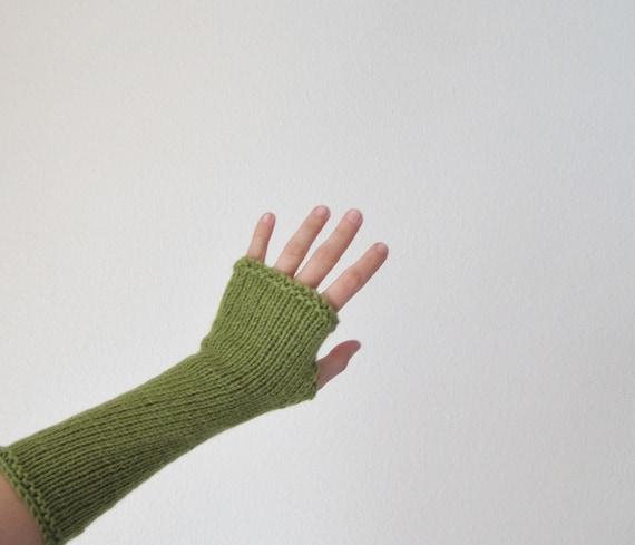 Leaf Green Arm Warmers - Long Wool Hand Knit Fingerless Gloves