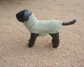 Hand Knitted Sage Green x Small Dog Sweater