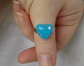 Adjustable Blue Heart Ring