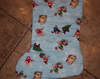 Handmade Oversized Quilted Christmas Stocking  M&M candy Xmas Chocolate