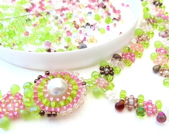 Beadweaving Tutorial - 4 Summer Dew Necklace, Daisychain Seed Bead Pattern