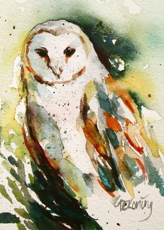 Items similar to Barn Owl watercolour painting 8.5x11 ...