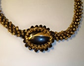 Black & Gold Beaded Choker Necklace with Vintage Jewelry Beaded and Upcycled on Black and Gold Beaded Rope Choker