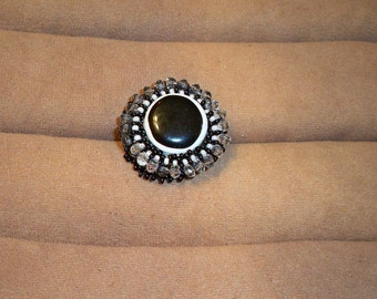 Black & White Beaded Ring on Adjustable Silver Band, Assorted Rings with Upcycled Vintage Jewelry, Buttons, Beads, Crystals, Stones