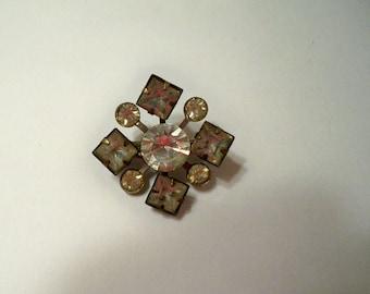 Vintage Rhinestone Brooch, Rhinestone Squares & Circles Pin,  Prong Set Vintage Rhinestone Brooch, Crafting Supplies