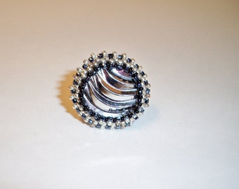 Black & Silver Ring, Upcycled Ring with Black and Silver Beads, Vintage Jewelry,  Assorted Rings with Vintage Buttons Beads Crystals, Stones
