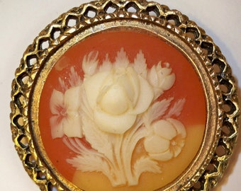Cameo Brooch with Ivory Colored Flowers, Orange Background & Gold Filigree