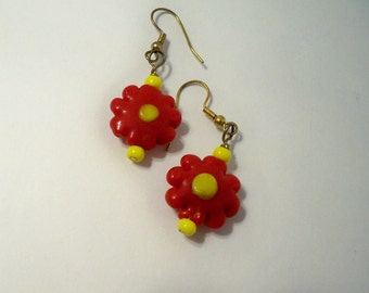 Red Flower Earrings with Yellow Center Lampwork Glass Bead Earrings Available in a Variety of Colors