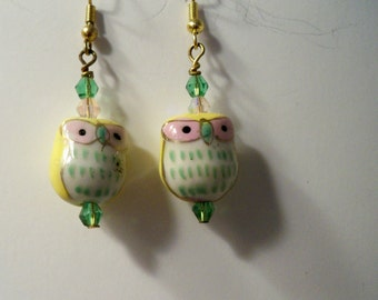 Owl Earrings with Painted with Yellow & Green Details and Green Crystal Beads