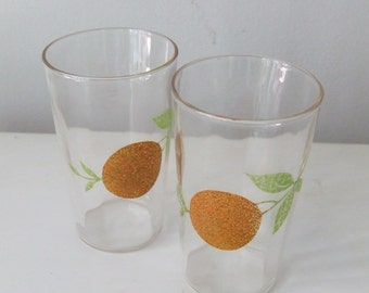 Orange Fruit Juice Sip Glasses Pair