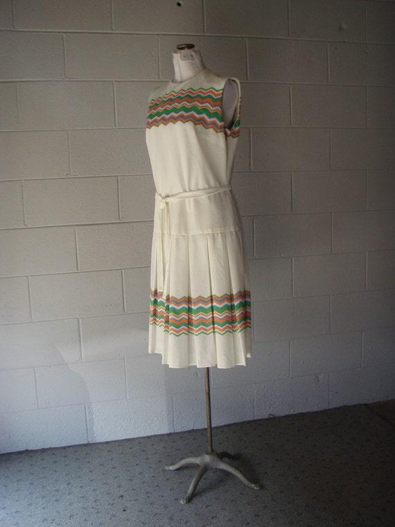 1960s Dress White Drop Waist Pleated Stripe Summer White Tennis Dress Large BOLD Preppy