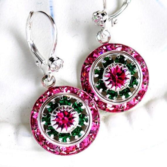 Summer Picnics, crystal earrings