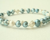 Winter Pearls bracelet - light blue and white freshwater pearls wire wrapped with sterling silver - winter jewelry