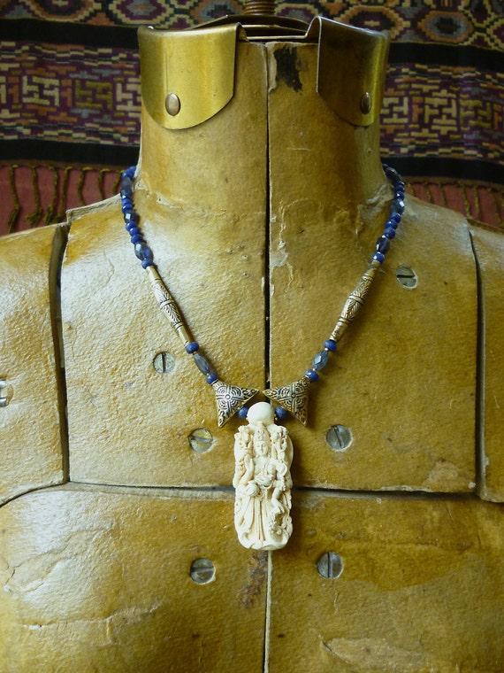 Goddess Lakshmi necklace, sapphire and iolite