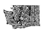 Washington typography map...