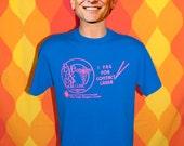 vintage t-shirt 80s charleston LASER eye doctor optometry neon random WTF Large blue