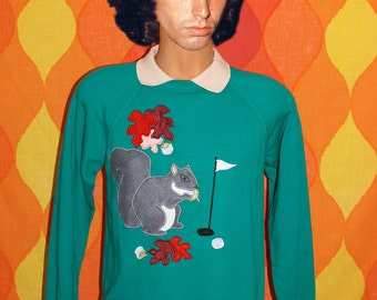 vintage 80s sweatshirt collar golf SQUIRREL nuts applique rhinestone raglan crewneck Small Medium humor kawaii