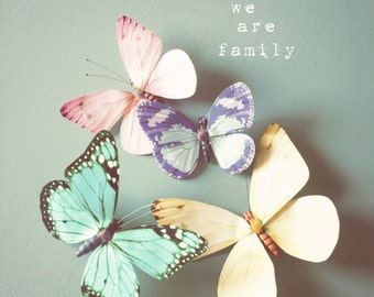 Butterfly photo, typographic print, pastel pink, blue, family, girls room art, butterfly decor, sweet and whimsical - We are family